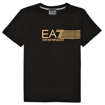 textil Pojkar T-shirts Emporio Armani EA7 3KBT54-BJ02Z-1200 Svart / Guldfärgad