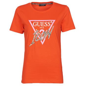 textil Dam T-shirts Guess SS CN ICON TEE Röd