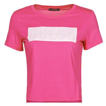 textil Dam T-shirts Guess SS CN ADRIA TEE Fuchsia