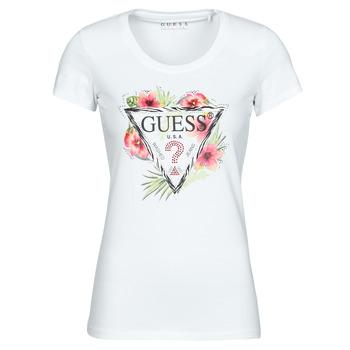 textil Dam T-shirts Guess SS CN REBECCA TEE Vit / Flerfärgad