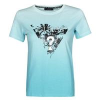 textil Dam T-shirts Guess SS CN PALMS TEE Blå