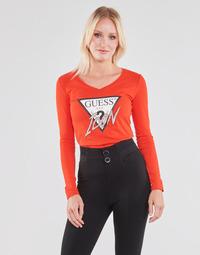 textil Dam Långärmade T-shirts Guess LS VN ICON TEE Röd