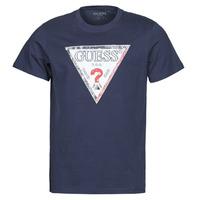 textil Herr T-shirts Guess TRIESLEY CN SS TEE Marin
