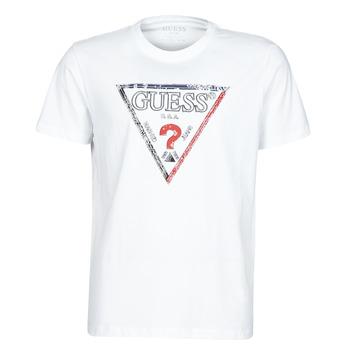 textil Herr T-shirts Guess TRIESLEY CN SS TEE Vit