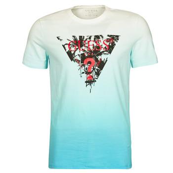 textil Herr T-shirts Guess PALM BEACH CN SS TEE Blå