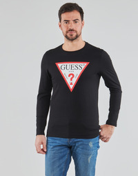 textil Herr Långärmade T-shirts Guess CN LS ORIGINAL LOGO TEE Svart