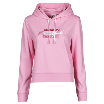textil Dam Sweatshirts Tommy Jeans TJW CROPPED TOMMY FLAG HOODIE Rosa
