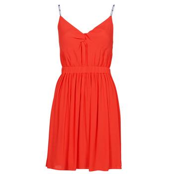 textil Dam Korta klänningar Tommy Jeans TJW ESSENTIAL STRAP DRESS Röd