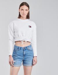 textil Dam Sweatshirts Tommy Jeans TJW SUPER CROPPED BADGE CREW Vit