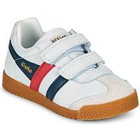 Skor Barn Sneakers Gola HARRIER LEATHER VELCRO Vit / Marin / Röd