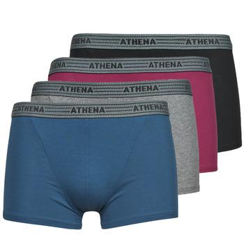Underkläder  Herr Boxershorts Athena BASIC COTON  X4 Grå / Bordeaux / Blå / Svart