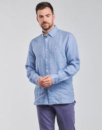 textil Herr Långärmade skjortor Tommy Hilfiger PIGMENT DYED LINEN SHIRT Blå