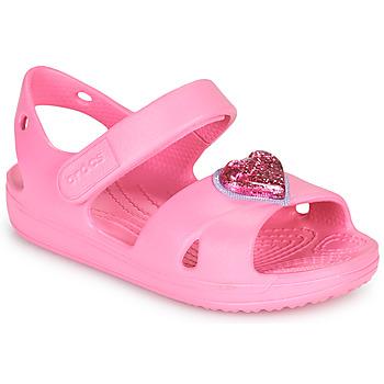 Skor Flickor Sandaler Crocs CLASSICCROSSSTRAPCHARMSANDAL T Rosa