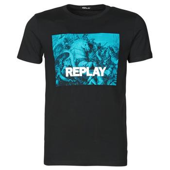 textil Herr T-shirts Replay M3412-2660 Svart / Blå