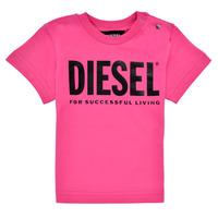textil Flickor T-shirts Diesel TJUSTLOGOB Rosa