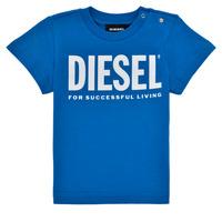 textil Pojkar T-shirts Diesel TJUSTLOGOB Blå