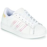 Skor Flickor Sneakers adidas Originals SUPERSTAR C Vit / Regnbågsfärgat
