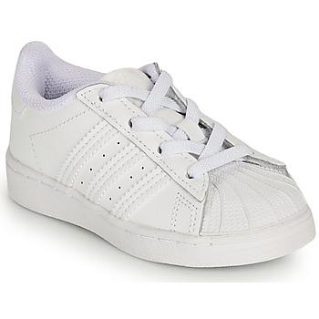 Skor Flickor Sneakers adidas Originals SUPERSTAR EL I Vit / Regnbågsfärgat