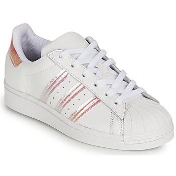 Skor Flickor Sneakers adidas Originals SUPERSTAR J Vit / Regnbågsfärgat