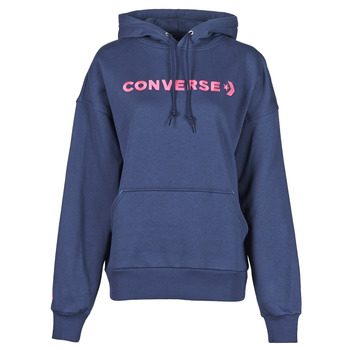 textil Dam Sweatshirts Converse EMBROIDERED WORDMARK HOODIE Blå