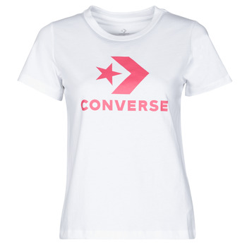 textil Dam T-shirts Converse STAR CHEVRON CENTER FRONT TEE Vit