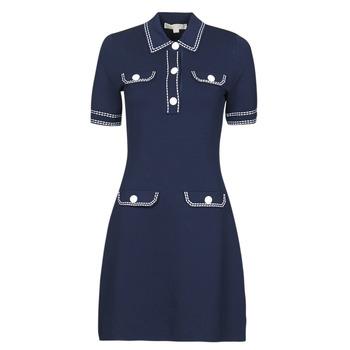 textil Dam Korta klänningar MICHAEL Michael Kors CONTRAST STITCH BUTTON DRESS Marin