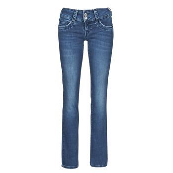 textil Dam Raka byxor Pepe jeans GEN Blå