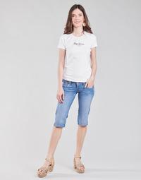 textil Dam Långshorts Pepe jeans VENUS CROP Blå