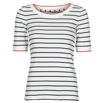 textil Dam T-shirts Esprit RAYURES COL ROUGE Vit