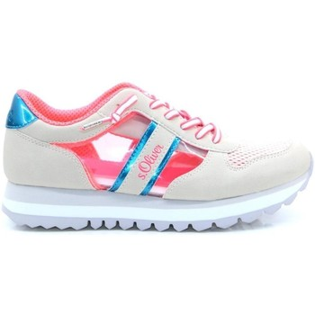 Skor Dam Sneakers S.Oliver Off White Pink Flat Shoes Beige