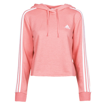 textil Dam Sweatshirts adidas Performance W 3S FT CRO HD Rosa