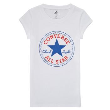 textil Flickor T-shirts Converse TIMELESS CHUCK PATCH TEE Vit