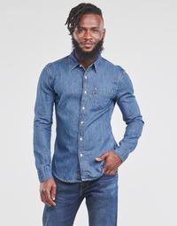 textil Herr Långärmade skjortor Levi's SUNSET 1 PKT SLIM Blå