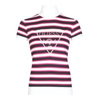 textil Dam T-shirts Guess GERALDE TURTLE NECK Svart / Vit