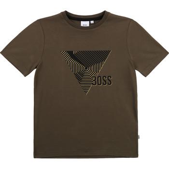 textil Pojkar T-shirts BOSS J25L02-64C-B Kaki