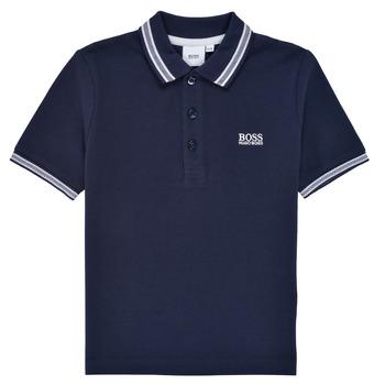 textil Pojkar Kortärmade pikétröjor BOSS TONNELA Marin