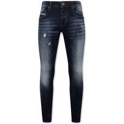 textil Herr Stuprörsjeans True Rise Slim Fit Jeans För A Blå