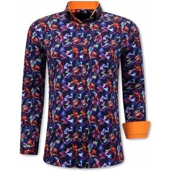 textil Herr Långärmade skjortor Tony Backer A Slim Fit Orange Lila Orange