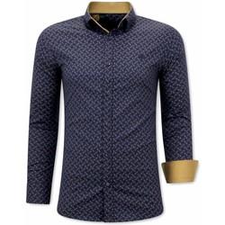 textil Herr Långärmade skjortor Tony Backer Slim Fit För Blå