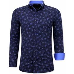textil Herr Långärmade skjortor Tony Backer Skjorta Slim Fít Blå