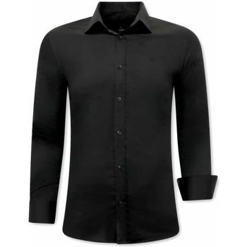 textil Herr Långärmade skjortor Tony Backer Business Skjorta Svart