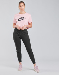 textil Dam Joggingbyxor Nike NSAIR PANT FLC MR Svart / Vit