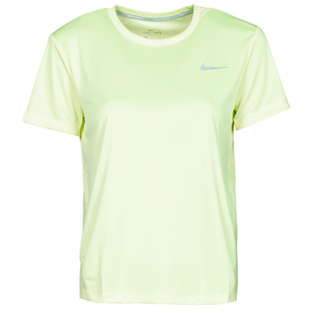 textil Dam T-shirts Nike MILER TOP SS Grön / Grå