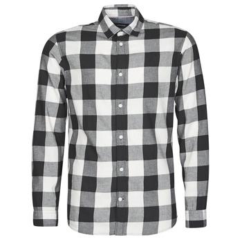 textil Herr Långärmade skjortor Jack & Jones JJEGINGHAM Vit / Svart