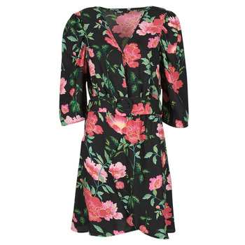 textil Dam Korta klänningar Only ONLEVE 3/4 SLEEVE SHORT DRESS WVN Svart / Rosa