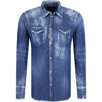 textil Herr Långärmade skjortor Dsquared S74DM0226 Blå
