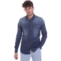 textil Herr Långärmade skjortor Gaudi 021GU46001 Blå