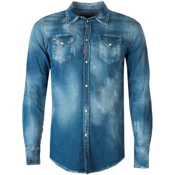 textil Herr Långärmade skjortor Dsquared  Blå