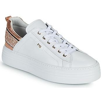 Skor Dam Sneakers NeroGiardini GATTO Vit / Rosa / Guld
