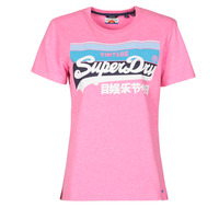 textil Dam T-shirts Superdry VL CALI TEE 181 Rosa